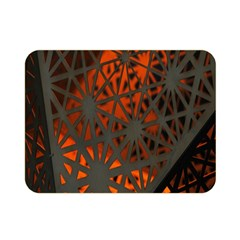 Abstract Lighted Wallpaper Of A Metal Starburst Grid With Orange Back Lighting Double Sided Flano Blanket (Mini)