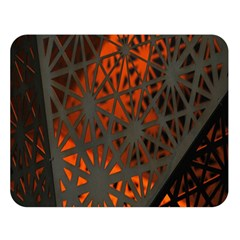 Abstract Lighted Wallpaper Of A Metal Starburst Grid With Orange Back Lighting Double Sided Flano Blanket (large)