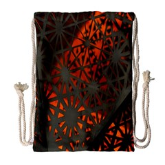 Abstract Lighted Wallpaper Of A Metal Starburst Grid With Orange Back Lighting Drawstring Bag (large) by Nexatart