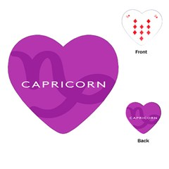 Zodiac Capricorn Purple Playing Cards (heart)  by Mariart