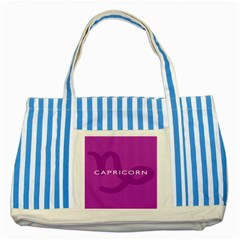 Zodiac Capricorn Purple Striped Blue Tote Bag by Mariart