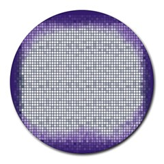 Purple Square Frame With Mosaic Pattern Round Mousepads by Nexatart
