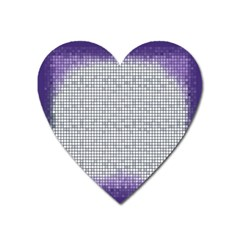Purple Square Frame With Mosaic Pattern Heart Magnet by Nexatart