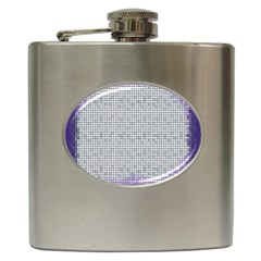 Purple Square Frame With Mosaic Pattern Hip Flask (6 Oz) by Nexatart