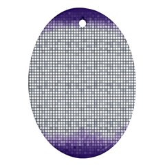 Purple Square Frame With Mosaic Pattern Oval Ornament (two Sides)