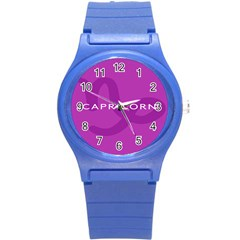 Zodiac Capricorn Purple Round Plastic Sport Watch (s) by Mariart