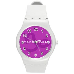 Zodiac Capricorn Purple Round Plastic Sport Watch (m) by Mariart
