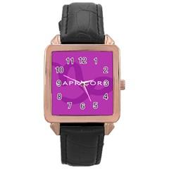 Zodiac Capricorn Purple Rose Gold Leather Watch  by Mariart
