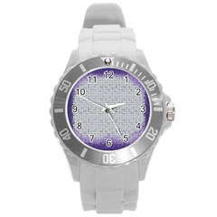 Purple Square Frame With Mosaic Pattern Round Plastic Sport Watch (l) by Nexatart