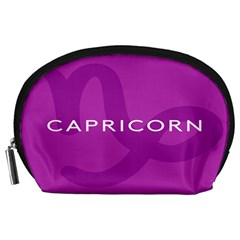 Zodiac Capricorn Purple Accessory Pouches (large)  by Mariart