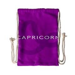 Zodiac Capricorn Purple Drawstring Bag (small) by Mariart