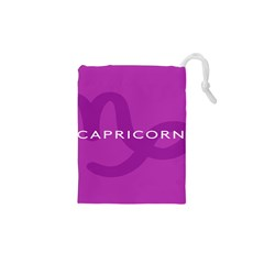 Zodiac Capricorn Purple Drawstring Pouches (xs)  by Mariart