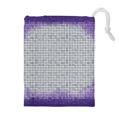 Purple Square Frame With Mosaic Pattern Drawstring Pouches (extra Large) by Nexatart