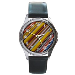 Colourful Lines Round Metal Watch by Nexatart