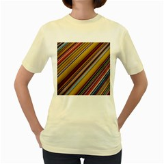 Colourful Lines Women s Yellow T Shirt by Nexatart