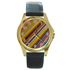 Colourful Lines Round Gold Metal Watch by Nexatart