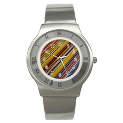 Colourful Lines Stainless Steel Watch by Nexatart