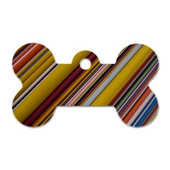Colourful Lines Dog Tag Bone (two Sides)