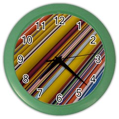 Colourful Lines Color Wall Clocks by Nexatart