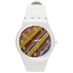 Colourful Lines Round Plastic Sport Watch (m)