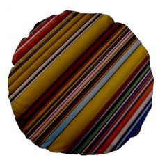 Colourful Lines Large 18  Premium Round Cushions by Nexatart