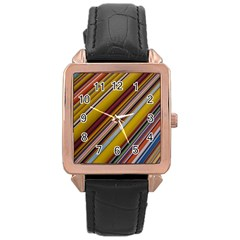 Colourful Lines Rose Gold Leather Watch