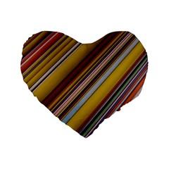 Colourful Lines Standard 16  Premium Flano Heart Shape Cushions by Nexatart