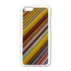 Colourful Lines Apple Iphone 6/6s White Enamel Case by Nexatart