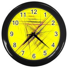 Fractal Color Parallel Lines On Gold Background Wall Clocks (black) by Nexatart