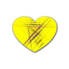 Fractal Color Parallel Lines On Gold Background Rubber Coaster (heart)  by Nexatart