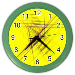 Fractal Color Parallel Lines On Gold Background Color Wall Clocks by Nexatart