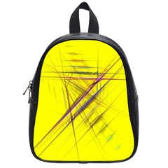 Fractal Color Parallel Lines On Gold Background School Bags (small)  by Nexatart
