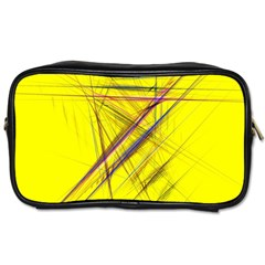 Fractal Color Parallel Lines On Gold Background Toiletries Bags