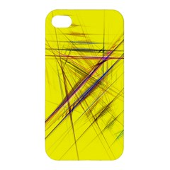 Fractal Color Parallel Lines On Gold Background Apple Iphone 4/4s Premium Hardshell Case by Nexatart