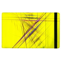 Fractal Color Parallel Lines On Gold Background Apple Ipad 2 Flip Case by Nexatart