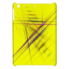 Fractal Color Parallel Lines On Gold Background Apple iPad Mini Hardshell Case