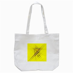 Fractal Color Parallel Lines On Gold Background Tote Bag (white) by Nexatart