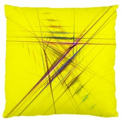 Fractal Color Parallel Lines On Gold Background Large Flano Cushion Case (two Sides) by Nexatart