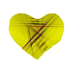 Fractal Color Parallel Lines On Gold Background Standard 16  Premium Flano Heart Shape Cushions by Nexatart