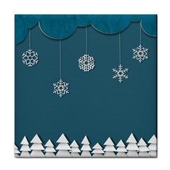 Blue Snowflakes Christmas Trees Tile Coasters by Mariart