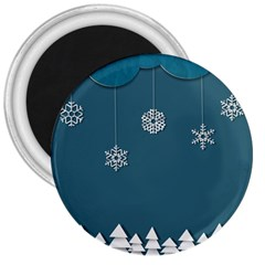 Blue Snowflakes Christmas Trees 3  Magnets by Mariart
