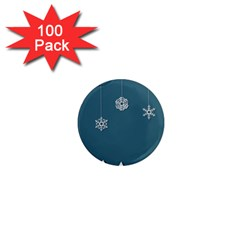 Blue Snowflakes Christmas Trees 1  Mini Magnets (100 Pack)  by Mariart