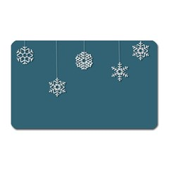 Blue Snowflakes Christmas Trees Magnet (rectangular) by Mariart