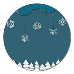 Blue Snowflakes Christmas Trees Magnet 5  (round) by Mariart