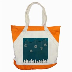 Blue Snowflakes Christmas Trees Accent Tote Bag by Mariart