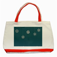 Blue Snowflakes Christmas Trees Classic Tote Bag (red) by Mariart