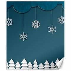Blue Snowflakes Christmas Trees Canvas 20  X 24   by Mariart