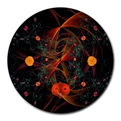 Fractal Wallpaper With Dancing Planets On Black Background Round Mousepads