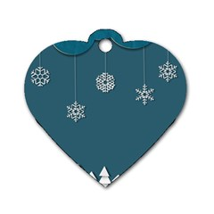 Blue Snowflakes Christmas Trees Dog Tag Heart (two Sides) by Mariart