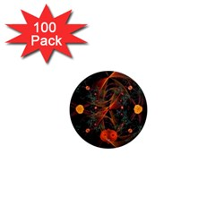 Fractal Wallpaper With Dancing Planets On Black Background 1  Mini Magnets (100 Pack)